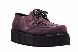 STEEL GROUND Chaussures Rouge Daim Bordeaux Creepers Haut Semelle D Bague Casual