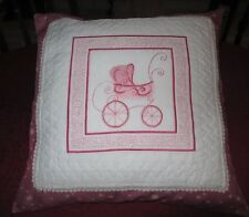 """Darling 16"""" Hand-Made Pillow/Cushion Cover W/Embroidered Pink Antique Buggy"""