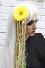 Pince à cheveux fleur jaune avec de longues laine dreads Festival kawaii harajuku cosplay