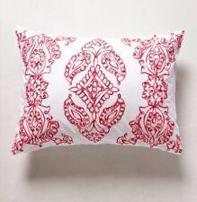 "Anthropologie Sham Carapelle Standard Sham Embroidered Red White Motif 26"" x 20"""