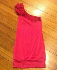 Kookai Pink Dress Size 2 Cotton Stretchy Fitted Ladies Clothing Women Pre Loved