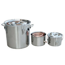 3 Pots 5Gal/20L Alcohol Distiller Moonshine Still Boiler Stainless Steel Copper