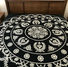 POTTERY BARN SUZANI Black Crewel Embroidered DUVET COVER Full / Queen Size
