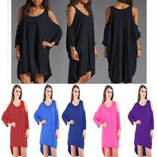 Womens Baggy Cut Out Cold Shoulder Oversize Tunic Mini Dress Size UK 8/26