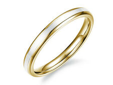 2mm  WOMENS titanium gold & white  wedding engagement ring  size Q a15