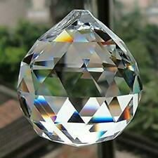 """FACETED CRYSTAL SPHERE 2"""" 50mm Clear Feng Shui Rainbow Sun Catcher Prism Ball"""