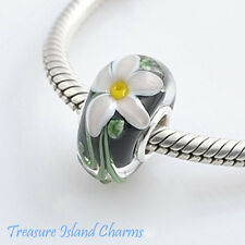WHITE FLOWER ON BLACK MURANO GLASS .925 Sterling Silver EUROPEAN Bead Charm