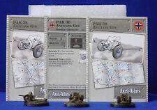Axis & Allies Miniatures BASE SET #30/48 3 Pak38 Antitank Guns + Stat Cards GE10