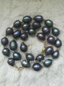 Huge 14-11mm AAA tahitian black baroque pearl necklace 18inch 14k gold