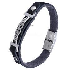 Angel Wing Stainless Steel Unisex Genuine Cowhide Bracelet Bracelet Wristband-0