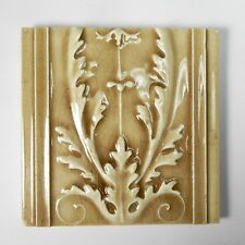 J & J G Low Antique Ceramic Art Tile Made For Conway Cabinet Co Leaf Design 1894