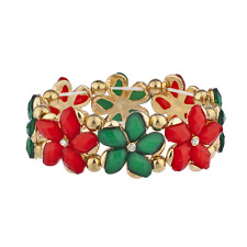 Lux Accessories Red Green Holiday Christmas Flower Stretch Bracelet