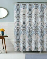 Calais Dobby Fabric Shower Curtain: iKat Floral Design (Blue-Brown-White) Nwop