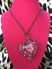 Betsey Johnson ORIGINAL Vintage LARGE Clear Lucite Heart Pink Crystal Necklace
