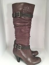 Jessica Simpson Capry Gray Tall Slouch Leather Buckle Boots Women's 7B