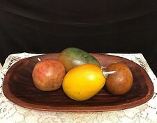 WOOD FRUIT TRAY Hand Carved VINTAGE Gourd Fruit w/Silver Stems UNUSUAL Beautiful