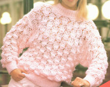 Ladies Chunky Quick Knit Cowl Neck Sweater Jumper Knitting Pattern 30-38 inch