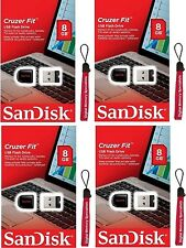 Lot 4 x SanDisk 8GB SD CZ33 (=32GB) USB Cruzer Fit 8G USB 2.0 SDCZ33-008G +Lany