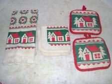 Pretty Christmas Holiday Kitchen Towel and Potholder 4 Piece Set