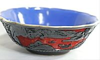 Red and black Chinese hand carved cinnabar from lacquer basin with 19th century