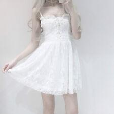 Lady Lolita Princess Slip Dress Bowknot Lace Up Ruffle Skirts Costumes Romantic