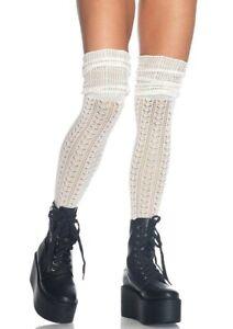 Leg Avenue Acrylic Pointelle Over the Knee Scrunch Sock Ivory 6906