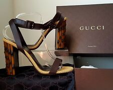 Gucci Lifford Cocoa Bamboo Heels Sandals. Sze 6.5.  Perfect Condition. £520
