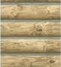 York Mountain Rustic Cabin Logs Wallpaper MEDIUM BROWN - CH7977    FREE SHIPPING