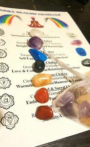 New CHAKRA HEALING CRYSTALS 7 Stone Chakra Set Reiki Chakras Healing FREE Pouch