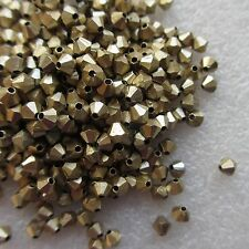 500 x 4mm Gold Tone Bicone Beads For Craft Jewellery Making UK Seller