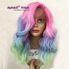Medium Length Synthetic Rainbow Red Pink Ombre Blue green Color Lace Front Wigs