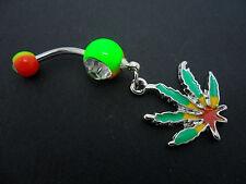 Un Acciaio Inossidabile SMALTO Cannabis Erbaccia Foglia ombelico / Piercing Ombelico. NUOVO.