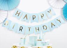 Happy Birthday Banner HELLBLAU Partydeko Geburtstagsdeko Kindergeburtstag blau