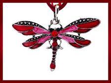 NUEVO Libélula Cristal Esmalte Rojo colgante de Mujer Collar