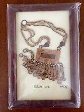 Arabian Treasures Heritage Silver Hirz Wood Carving 4x6 Framed