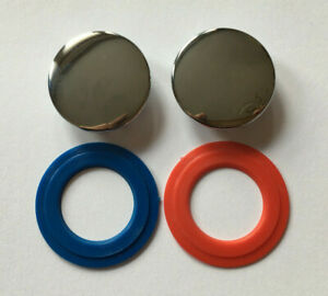 Tap Indices Tops Chrome  27mm into Tap Red Blue Spares Parts Pair            i4