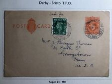 1950 Bristol England Postcard Cover Traveling Post Office To Georgetown Ma Usa