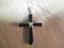 Onyx Kreuz-Echtschmuck-Halsketten & -Anhänger aus Sterlingsilber