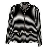 Lauren Ralph Lauren Womens Reversible Stripe Zip Up Jacket Size Large Nautical