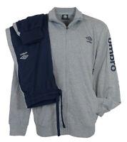 Tuta sportiva pigiama Casa Uomo in cotone con cerniera Umbro 42S blu grigio