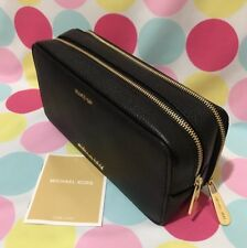 NEW MICHAEL KORS PEBBLED LEATHER MERCER LARGE DOUBLE ZIP TRAVEL POUCH IN BLACK