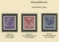 Bohmen & Mahren 1943 , 3x Winter help, MNH