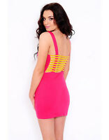Motel Rocks - Motel Lesley Bodycon Caged Dress in Pink Size L (14)