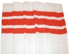 "25"" KNEE HIGH WHITE tube socks with ORANGE stripes style 1 (25-50)"