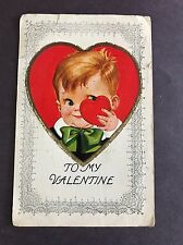 Vintage Valentine Postcard Young Boy in Red Heart Made in the Usa