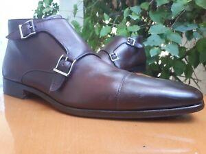 Magnanni Men's Burgundy Leather Double Monk Strap Ankle Boots Size 10.5 M