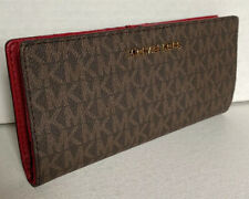 New Michael Kors Jet Set Travel Medium Flat Slim Bifold wallet Brown / Scarlet