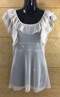 Women's Shirt Size Small Top Tan Beige Ruffles Sheer Blouse