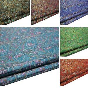 Faux Silk Brocade(Paisley Fern Aster)Jacquard Damask Kimono Fabric Material*BK1