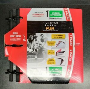 "New Five Star Flex 1"" Hybrid Notebinder 2 Pack Black & Red 200 sheet capacity"